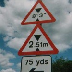 Now you see it, now you don't.  The 2.51m sign is illegal as metre signs may only have one figures after the decimal point. But the metric height is also confusing, so ARM removed it.