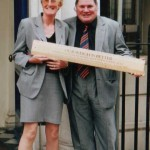 The late Dave Stephens, the butcher who stood up to the Trading Standards by refusing to sell in kilos, with his Golden Rule award, for services to British Weights and Measures  together with a supporter.