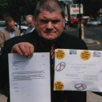 Dave Stephens with a protest letter to Tony Blair, Prime Minister, at the House of Commons – June 2000.