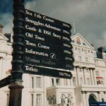 Illegal metric pedestrian signs on Hastings Promenade before  they were amended by A.R.M.