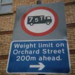 A sign in Bury St. Edmunds, Suffolk another illegal metric sign to be amended by ARM supporters.