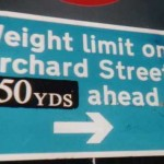 A sign in Bury St. Edmunds, Suffolk  another illegal metric sign amended by ARM supporters.