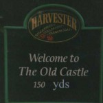 This Harvester sign, just north of Salisbury, used to say 150m before an ARM supporter improved it.