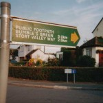 A metric sign at Lower Nazeing, Essex, amended to read in mailes by ARM activists.